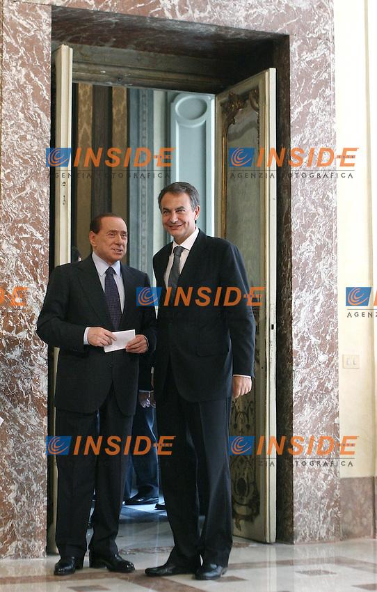 Incontro tra il Presidente del Consiglio dei Ministri Italiano Silvio Berlusconi  e il Primo Ministro Spagnolo Jose' Luis Rodriguez Zapatero..Roma, Palazzo Chigi, 10 Giugno 2010..Photo Serena Cremaschi Insidefoto