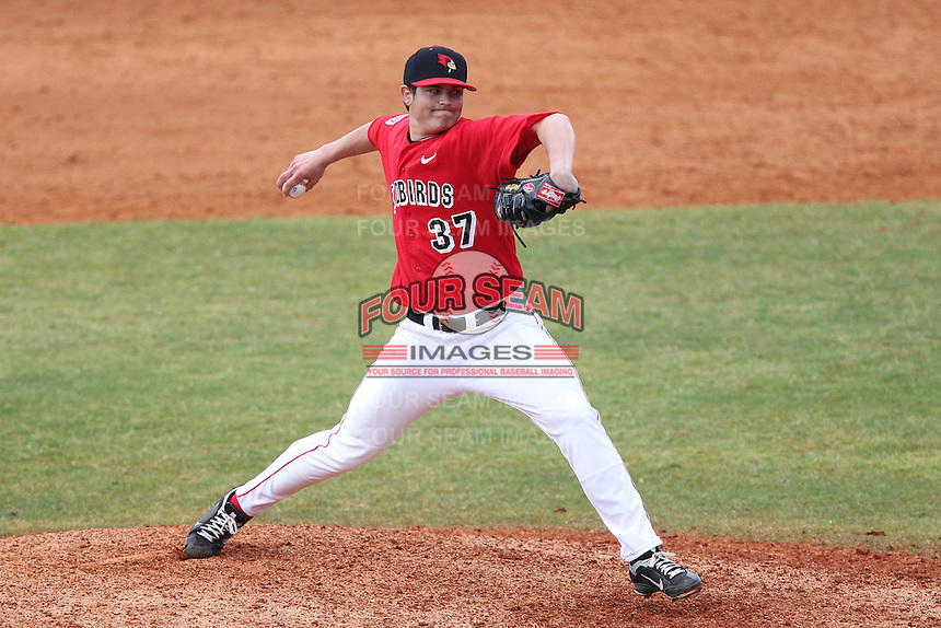 Illinois State Redbirds Matt Schmitt #37 during a game against the Iowa Hawkeyes at Chain of Lakes Stadium on March 11, 2012 in Winter Haven, Florida.  Illinois State defeated Iowa 10-6.  (Mike Janes/Four Seam Images)