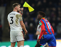Tempers flare between Burnley's Charlie Taylor and Crystal Palace's Wilfried Zaha<br /> <br /> Photographer Ashley Crowden/CameraSport<br /> <br /> The Premier League - Crystal Palace v Burnley - Saturday 13th January 2018 - Selhurst Park - London<br /> <br /> World Copyright &copy; 2018 CameraSport. All rights reserved. 43 Linden Ave. Countesthorpe. Leicester. England. LE8 5PG - Tel: +44 (0) 116 277 4147 - admin@camerasport.com - www.camerasport.com