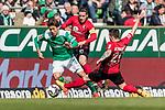 13.04.2019, Weserstadion, Bremen, GER, 1.FBL, Werder Bremen vs SC Freiburg<br /> <br /> DFL REGULATIONS PROHIBIT ANY USE OF PHOTOGRAPHS AS IMAGE SEQUENCES AND/OR QUASI-VIDEO.<br /> <br /> im Bild / picture shows<br /> Yuya Osako (Werder Bremen #08) im Duell / im Zweikampf mit Christian G&uuml;nter / Guenter (SC Freiburg #30), Jerome Gondorf (SC Freiburg #20), <br /> <br /> Foto &copy; nordphoto / Ewert