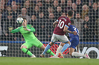 West Ham United's Manuel Lanzini sees his shot saved by Chelsea's Kepa Arrizabalaga<br /> <br /> Photographer Rob Newell/CameraSport<br /> <br /> The Premier League - Chelsea v West Ham United - Monday 8th April 2019 - Stamford Bridge - London<br /> <br /> World Copyright &copy; 2019 CameraSport. All rights reserved. 43 Linden Ave. Countesthorpe. Leicester. England. LE8 5PG - Tel: +44 (0) 116 277 4147 - admin@camerasport.com - www.camerasport.com