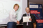 22/07/2015 GP Trainee Awards and Michael Lennard Reception 2015 hosted at The Holiday Inn, Filton, Bristol, by MDU.  Dr Cathryn Dillon (Somerset patch) receives her certificate from Dr Ray Montague, chairman of Brisdoc.