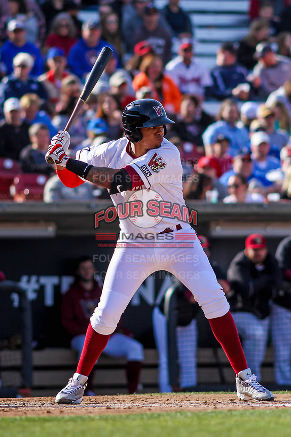 Wisconsin Timber Rattlers shortstop Gilbert Lara (11) at bat during a Midwest League game against the Quad Cities River Bandits on April 8, 2017 at Fox Cities Stadium in Appleton, Wisconsin.  Wisconsin defeated Quad Cities 3-2. (Brad Krause/Four Seam Images)
