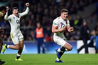 Owen Farrell of England scores a try in the second half. Quilter International match between England and Australia on November 24, 2018 at Twickenham Stadium in London, England. Photo by: Patrick Khachfe / Onside Images