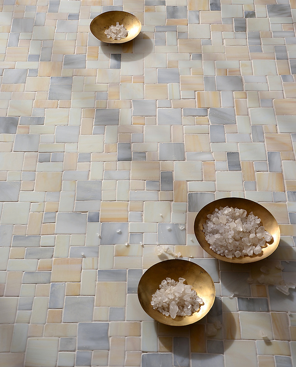 Garden Party, a handmade mosaic shown in Alabaster, Quartz, and Agate Sea Glass™, is part of the Sea Glass™ collection by New Ravenna.