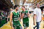 S&ouml;dert&auml;lje 2014-04-22 Basket SM-Semifinal 7 S&ouml;dert&auml;lje Kings - Uppsala Basket :  <br /> S&ouml;dert&auml;lje Kings Mantas Griskenas och S&ouml;dert&auml;lje Kings Dino Butorac &auml;r glada efter matchen<br /> (Foto: Kenta J&ouml;nsson) Nyckelord:  S&ouml;dert&auml;lje Kings SBBK Uppsala Basket SM Semifinal Semi T&auml;ljehallen jubel gl&auml;dje lycka glad happy
