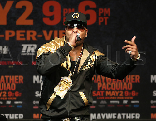 01.05.2015. Las Vegas, Nevada, USA.  Flo Rida performs for a record 11,500 boxing fans who filled the MGM Grand Garden Arena in Las Vegas, Nevada on May 1, 2015 to watch Floyd ''Money'' Mayweather weigh-in against Manny ''Pac Man'' Pacquiao. The two will battle on May 2nd for the World Welterweight Championship. Mayweather weighed in at 146 lbs. and Pacquiao 145lbs