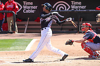 Wisconsin Timber Rattlers shortstop Jake Gatewood (2) at bat during a game against the Peoria Chiefs on April 25th, 2015 at Fox Cities Stadium in Appleton, Wisconsin.  Wisconsin defeated Peoria 2-0.  (Brad Krause/Four Seam Images)