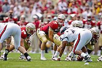 September 04, 2010:   Florida State Seminoles quarterback Christian Ponder (7) call a play at the line of scrimmage  during first half action between the Florida State Seminoles and the Samford Bulldogs at Doak Campbell Stadium in Tallahassee, Florida. Florida State defeated Samford 59-6.