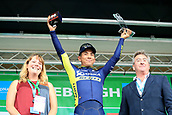 8th September 2017, Newmarket, England; OVO Energy Tour of Britain Cycling; Stage 6, Newmarket to Aldeburgh; Caleb EWAN (AUS) is present with his trophy after winning stage 6