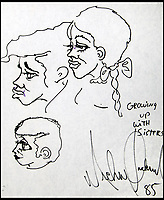BNPS.co.uk (01202 558833)<br /> Pic: JuliensAuctions/BNPS<br /> <br /> Never before seen self-portraits by Michael Jackson have emerged for sale for &pound;150,000. ($200,000)<br /> <br /> The superstar made over 30 drawings of himself and other family members including his sisters LaToya and Janet Jackson.<br /> <br /> The intimate artwork dates from 1985 when he was at the peak of his career having released his Thriller album.<br /> <br /> He gifted his drawings, which are in black marker pen, to his plastic surgeon, Dr Steven M. Hoefflin.