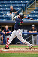 Lowell Spinners first baseman Trey Ganns (28) follows through on a swing during a game against the Staten Island Yankees on August 22, 2018 at Richmond County Bank Ballpark in Staten Island, New York.  Staten Island defeated Lowell 10-4.  (Mike Janes/Four Seam Images)