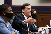 George Washington University Law School Law Professor Jonathan Turley (C) testifies beside and US Navy veteran and Black Lives Matter protester Kishon McDonald (L) and Amelia Brace (R) of Australia's Seven News; during the US House Natural Resources Committee hearing on 'The US Park Police Attack on Peaceful Protesters at Lafayette Square', on Capitol Hill in Washington, DC, USA, 29 June 2020. The death of George Floyd while in Minneapolis police custody has sparked protests demanding policing reform and racial equality. Amidst protests authorities cleared Lafayette Square, 01 June 2020, before US President Donald J. Trump walked across the park and visited St. John's Church.<br /> Credit: Michael Reynolds / Pool via CNP / MediaPunch