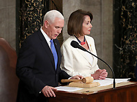 United States Vice President Mike Pence, left, and Speaker of the US House of Representatives Nancy Pelosi (Democrat of California) prior to US President Donald J. Trump delivering his second annual State of the Union Address to a joint session of the US Congress in the US Capitol in Washington, DC on Tuesday, February 5, 2019. Photo Credit: Alex Edelman/CNP/AdMedia