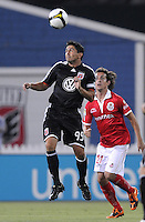 DC United forward Jaime Moreno (99) heads the ball.  Toluca FC defeated DC United 3-1in the Concacaf Champions League tournament,at RFK Stadium Wednesday, August 26  2009.