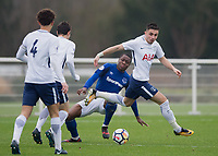 Anthony Georgiou of Tottenham Hotspur goes past Dennis Adeniran of Everton during the U23 - Premier League 2 match between Tottenham Hotspur U23 and Everton at Tottenham Training Ground, Hotspur Way, England on 15 January 2018. Photo by Vince  Mignott / PRiME Media Images.