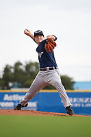 Lakeland Flying Tigers starting pitcher Casey Mize (32) delivers a warmup pitch during a game against the Dunedin Blue Jays on July 31, 2018 at Dunedin Stadium in Dunedin, Florida.  Dunedin defeated Lakeland 8-0.  (Mike Janes/Four Seam Images)