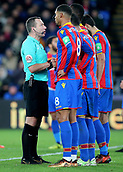 9th December 2017, Selhurst Park, London, England; EPL Premier League football, Crystal Palace versus Bournemouth; Referee Kevin Friend has words with the Crystal Palace  wall during a Bournemouth free kick
