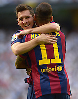 MADRID (SPAIN), OCTOBER, 25, 2014. Neymar and Leo Messi of Barcelona celebrate after scoring during the football match of Real Madrid vs Barcelona at Santiago Bernabeu stadium for Spanish Soccer League. PATRICIO REALPE/ASNERP