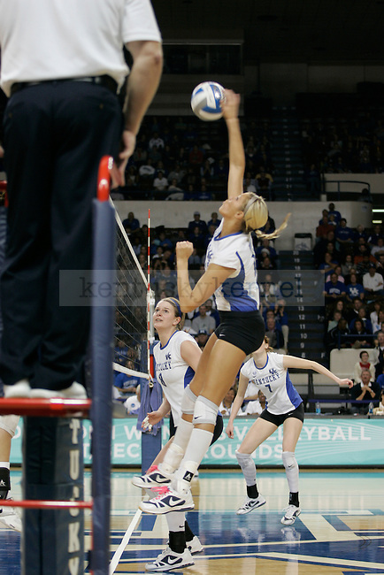 UK's Blaire Hiler attempts the kill against Michigan State at Memorial Coliseum on Friday, Dec. 4, 2009. Photo by Scott Hannigan | Staff