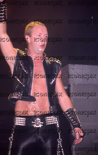 Judas Priest - vocalist Rob Halford - performing live on Defenders of The Faith tour  at the Veterans Memorial Coliseum in New Haven Ct, USA - March 22, 1984.  Photo credit: David Plastik/IconicPix