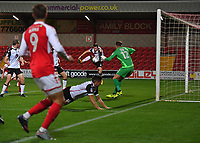 Morecambe's Aaron McGowan scores Fleetwood Town's second goal<br /> <br /> Photographer Dave Howarth/CameraSport<br /> <br /> EFL Checkatrade Trophy - Northern Section Group A - Fleetwood Town v Morecambe - Tuesday 3rd October 2017 - Highbury Stadium - Fleetwood<br />  <br /> World Copyright &copy; 2018 CameraSport. All rights reserved. 43 Linden Ave. Countesthorpe. Leicester. England. LE8 5PG - Tel: +44 (0) 116 277 4147 - admin@camerasport.com - www.camerasport.com