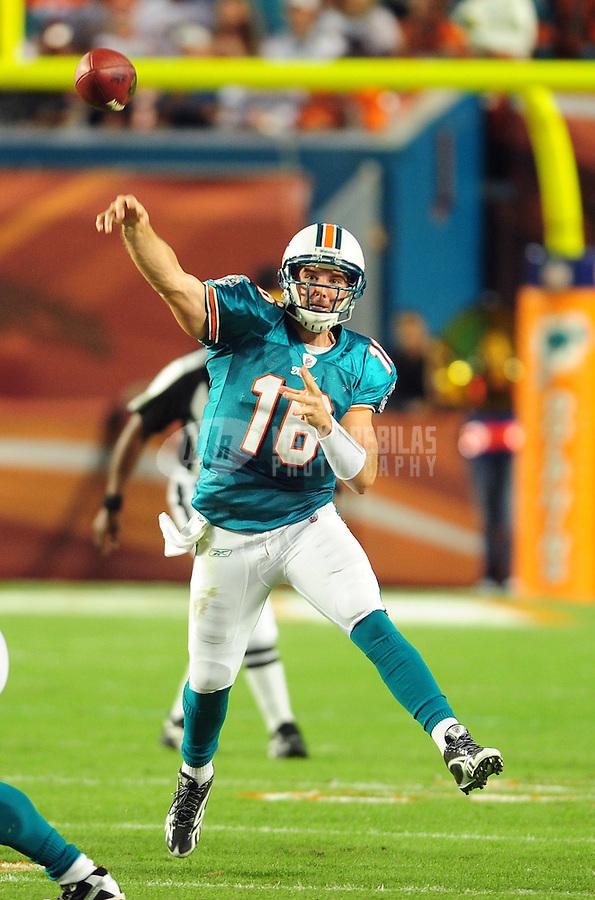 Nov. 18, 2010;  Miami, FL, USA; Miami Dolphins quarterback (16) Tyler Thigpen throws a pass in the first quarter against the Chicago Bears at Sun Life Stadium. Mandatory Credit: Mark J. Rebilas-