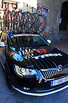Trek Factory Racing team car before the start of the 2015 Strade Bianche Eroica Pro cycle race running 200km over the white gravel roads from San Gimignano to Siena, Tuscany, Italy. 7th March 2015<br /> Photo: Eoin Clarke www.newsfile.ie