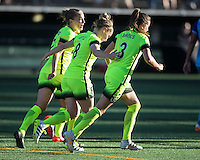 Seattle, WA - Saturday July 23, 2016: Elli Reed, Kim Little, Lauren Barnes during a regular season National Women's Soccer League (NWSL) match between the Seattle Reign FC and the Orlando Pride at Memorial Stadium.