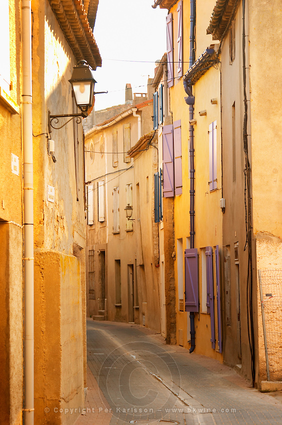 Gruissan village. La Clape. Languedoc. Village street. France. Europe.