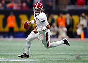 January 8th 2018, Atlanta, GA, USA; Alabama Crimson Tide quarterback Jalen Hurts (2) rolls out to pass during the College Football Playoff National Championship Game between the Alabama Crimson Tide and the Georgia Bulldogs on January 8, 2018 at Mercedes-Benz Stadium in Atlanta, GA.