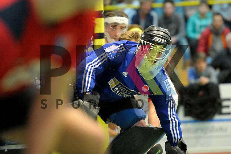 GER - Luebeck, Germany, February 06: During the 1. Bundesliga Herren indoor hockey semi final match at the Final 4 between Berliner HC (red) and Rot-Weiss Koeln (white) on February 6, 2016 at Hansehalle Luebeck in Luebeck, Germany. Final score 2-3 (HT 6-10).  Peter Schlich (TW) #32 of Rot-Weiss Koeln<br /> <br /> Foto &copy; PIX-Sportfotos *** Foto ist honorarpflichtig! *** Auf Anfrage in hoeherer Qualitaet/Aufloesung. Belegexemplar erbeten. Veroeffentlichung ausschliesslich fuer journalistisch-publizistische Zwecke. For editorial use only.