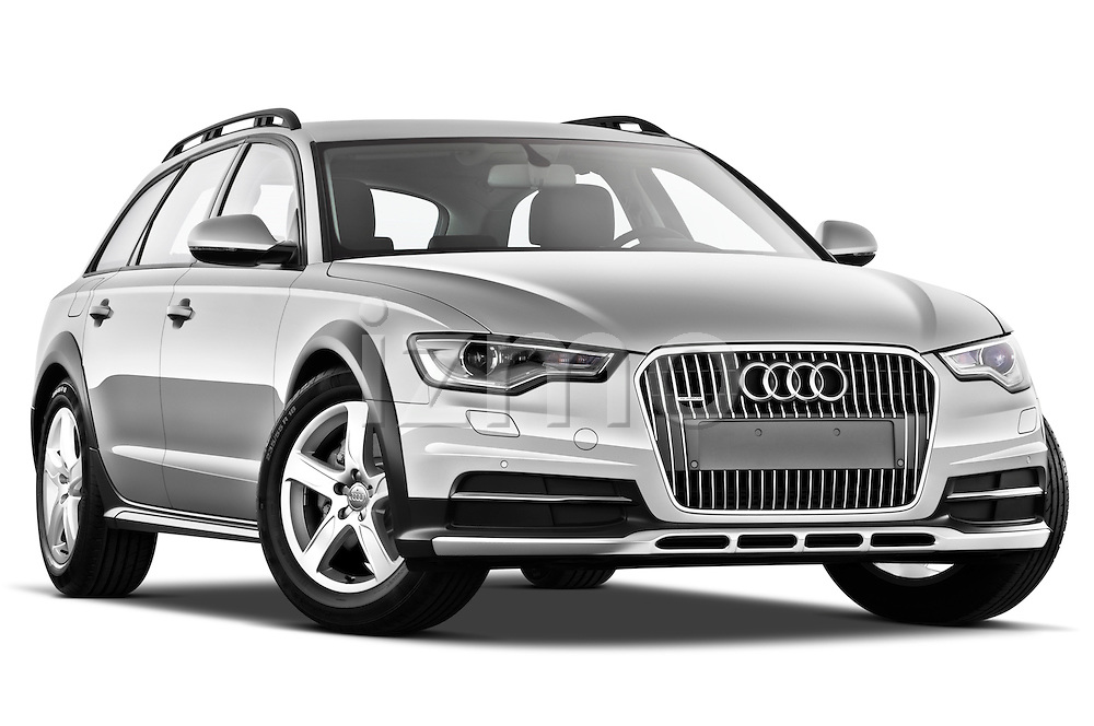Low aggressive passenger side front three quarter view of a 2013 Audi A6 Allroad Quattro Wagon .