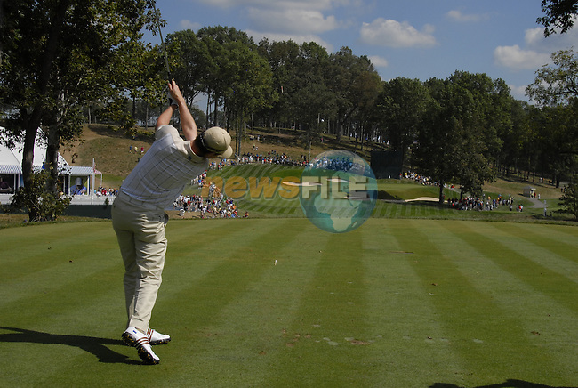 European Team member Justin Rose tees off on the 14th tee box during Practice Day1 of the 37th Ryder Cup at Valhalla Golf Club, Louisville, Kentucky, USA, 17th September 2008 (Photo by Eoin Clarke/GOLFFILE)