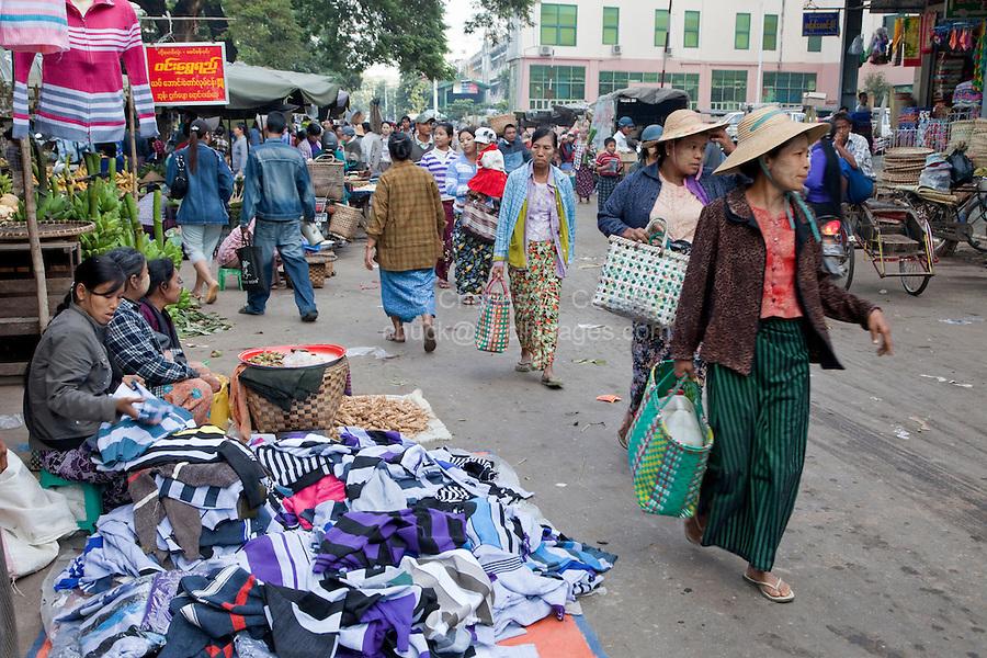 Myanmar, Burma.  Mandalay Street Scene, Local Market.