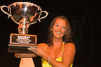 Layne Beachley (Aus) proudly displays her seventh world title trophy at Annual Foster's ASP World Champion's Crowning at Conrad Jupiters Casino on the Gold Coast of Australia Saturday night, February 24 2007. Held just prior to the launch of the 2007 Foster's ASP and ASP Women's World Tours at Snapper Rocks, the World Champion's Crowning acknowledged a bevy of accomplishments by surfers of all disciplines.  Photo: Joli