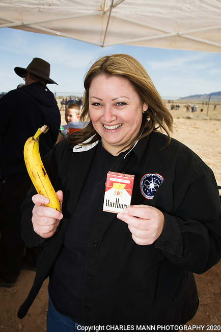 Health Physicist Shannan Boggs explains to visitor at the Trinity Site that cigarettes and bananas are among many common items that are slightly radioactive.