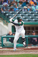 Fort Wayne TinCaps third baseman Carlos Belen (19) during the first game of a doubleheader against the Great Lakes Loons on May 11, 2016 at Parkview Field in Fort Wayne, Indiana.  Great Lakes defeated Fort Wayne 3-0.  (Mike Janes/Four Seam Images)