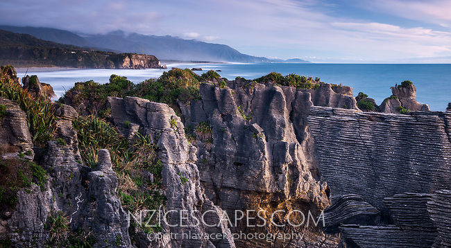 Twilight on pancake rocks in Punakaiki, Paparoa National Park, Buller Region, West Coast, New Zealand, NZ