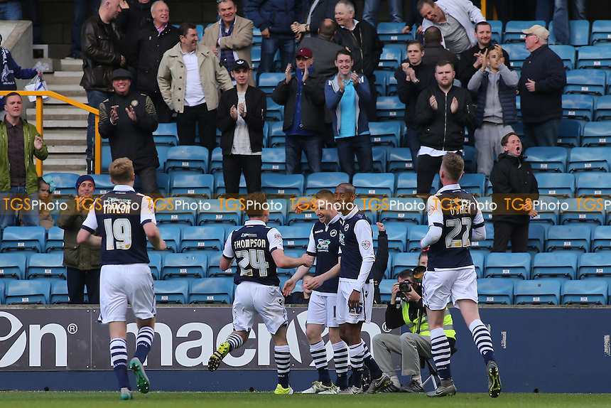 Ben Thompson and No26, Jimmy Abdou congratulate Shane Ferguson after scoring Millwall's second goal during Millwall vs Oldham Athletic, Sky Bet League 1 Football at The Den on 30th April 2016