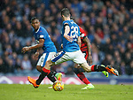 07.04.2018 Rangers v Dundee:<br /> Alfredo Morelos lays the ball offf to Jamie Murphy and is expecting the 1-2 pass but Murphy scores much to his dismay