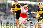 Eoin Brosnan Dr Crokes in action against Paul Geaney Dingle in the Senior County Football Semi Final in Fitzgerald Stadium on Sunday.