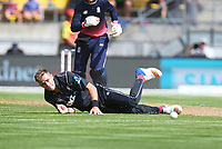 Blackcaps Tim Southee takes a tumble during the third ODI cricket match between the Blackcaps & England at Westpac stadium, Wellington. 3rd March 2018. © Copyright Photo: Grant Down / www.photosport.nz
