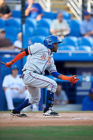 St. Lucie Mets right fielder John Mora (4) follows through on a swing during a game against the Dunedin Blue Jays on April 20, 2017 at Florida Auto Exchange Stadium in Dunedin, Florida.  Dunedin defeated St. Lucie 6-4.  (Mike Janes/Four Seam Images)