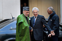 Mario Monti incontra a Palazzo Chigi il Presidente dell'Afghanistan Hamid Karzai..Afghan President Hamid Karzai (L) arrives at Palazzo Chigi in Rome to meets with Italian Prime Minister Mario Monti (R) to sign a bilateral agreement on cooperation and partnership.