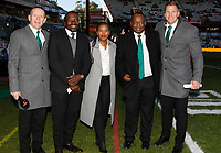 Joel Stransky with Owen Nkumane - Motshidisi Mohono - Xola Ntshinga and Jean de Villiers rugby commentator during the 2018 Castle Lager Incoming Series 2nd Test match between South Africa and England at the Toyota Stadium.Bloemfontein,South Africa. 16,06,2018 Photo by Steve Haag / stevehaagsports.com