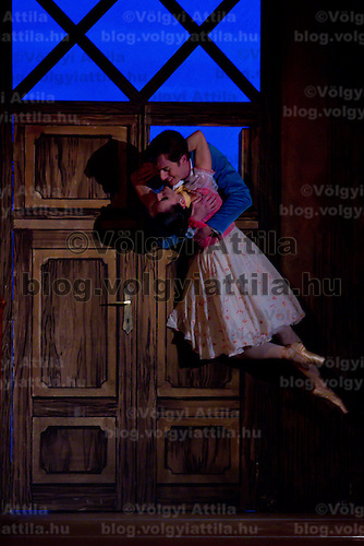 Dancers Zoltan Olah (up) as Colas and Adrienn Pap (down) as Lise in the dance piece La Fille Mal Gardee or The Wayward Daughter Choreographed by Sir Frederick Ashton presented by the Hungarian National Ballet Company in Hungary State Opera House,  Budapest, Hungary, Tuesday, 23. November 2010. ATTILA VOLGYI