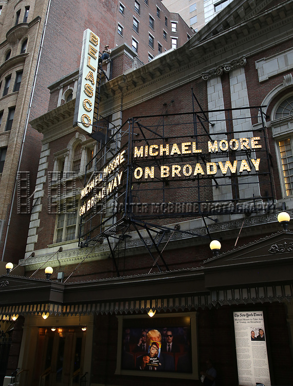 """Theatre Marquee Unveiled For """"Michael Moore on Broadway: The Terms of My Surrender"""" at The Belasco Theatre on June 27, 2017 in New York City."""