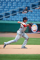 Pawtucket Red Sox second baseman Jonathan Roof (25) throws to first during a game against the Syracuse Chiefs on July 6, 2015 at NBT Bank Stadium in Syracuse, New York.  Syracuse defeated Pawtucket 3-2.  (Mike Janes/Four Seam Images)