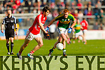 Johnny Buckley Kerry in action against Jamie O'Sullivan Cork in the National Football League at Pairc Ui Rinn, Cork on Sunday.